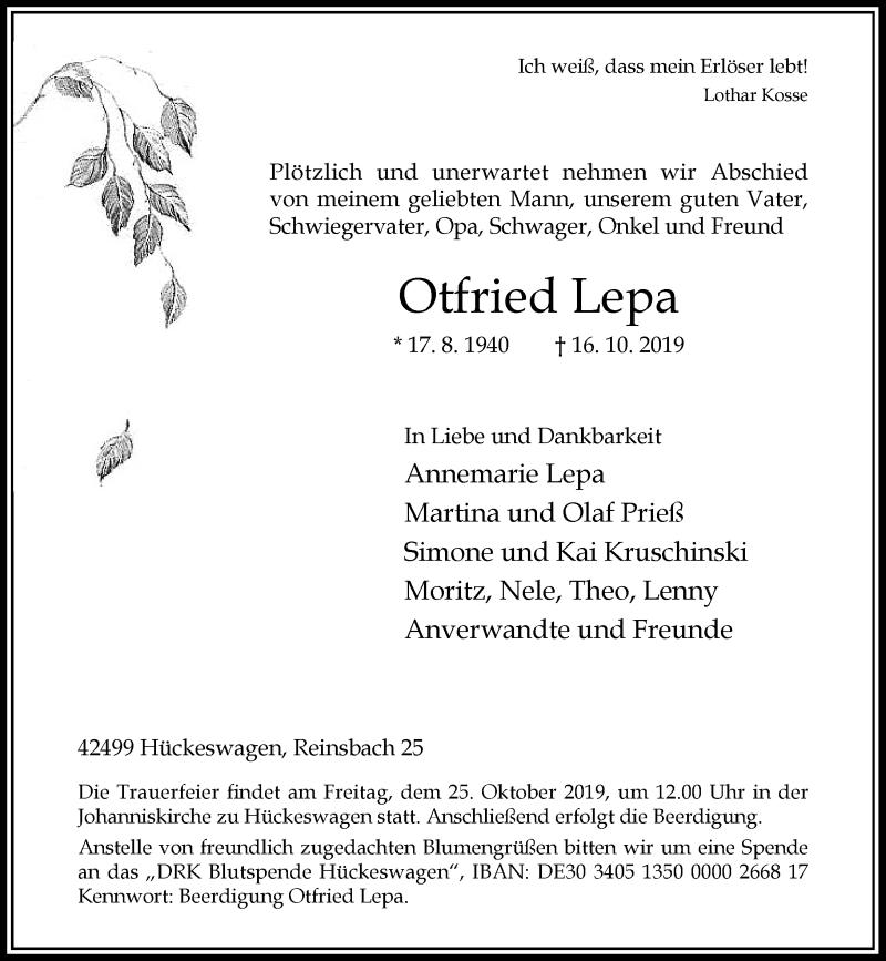 Anzeige von  Otfried Lepa