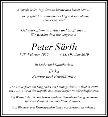 Traueranzeige von Peter Sürth von Rheinische Post