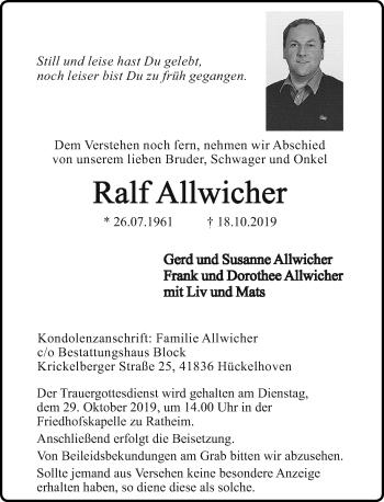 Traueranzeige von Ralf Allwicher von Rheinische Post