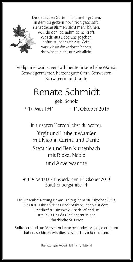 Anzeige von  Renate Schmidt