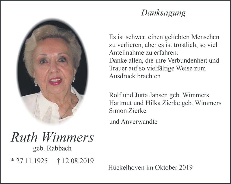 Traueranzeige für Ruth Wimmers vom 05.10.2019 aus Rheinische Post