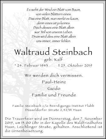 Traueranzeige von Waltraud Steinbach von Rheinische Post