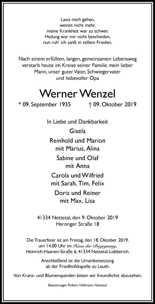 Anzeige von  Werner Wenzel