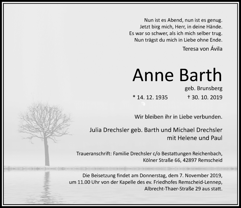 Anzeige von  Anne Barth