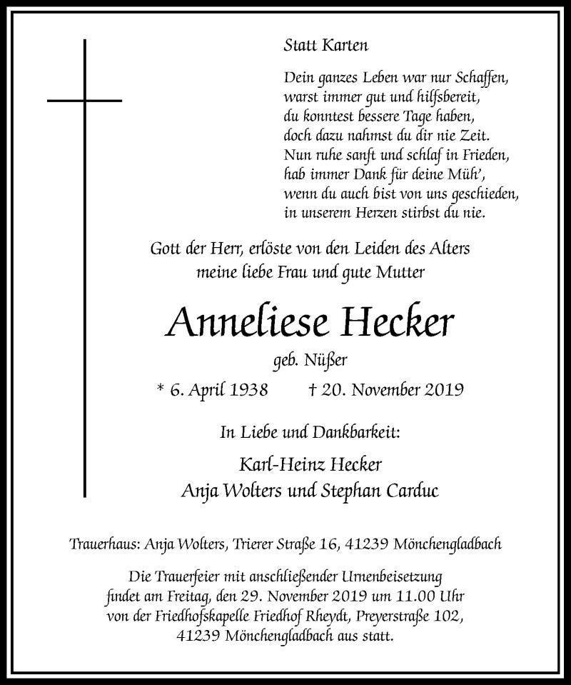 Anzeige von  Anneliese Hecker