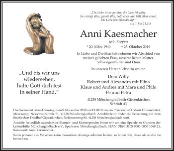 Traueranzeige von Anni Kaesmacher von Rheinische Post
