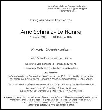 Traueranzeige von Arno Schmitz-Le Hanne von Rheinische Post