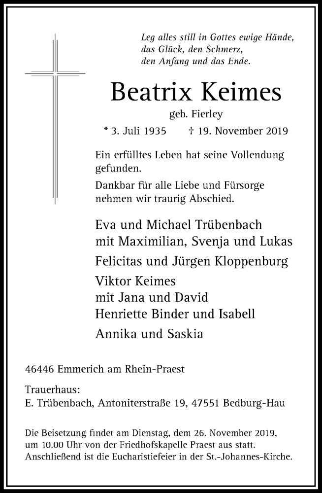 Anzeige von  Beatrix Keimes