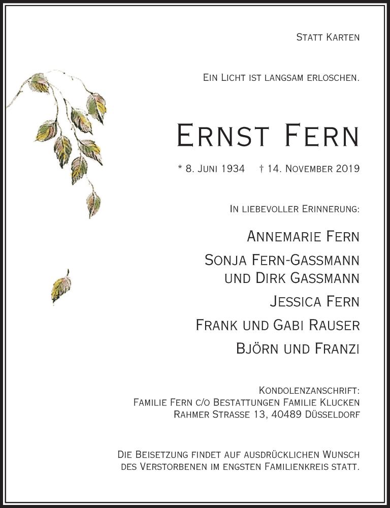 Anzeige von  Ernst Fern