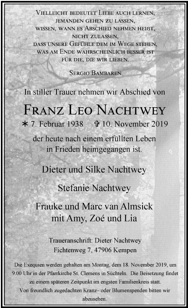 Anzeige von  Franz Leo Nachtwey