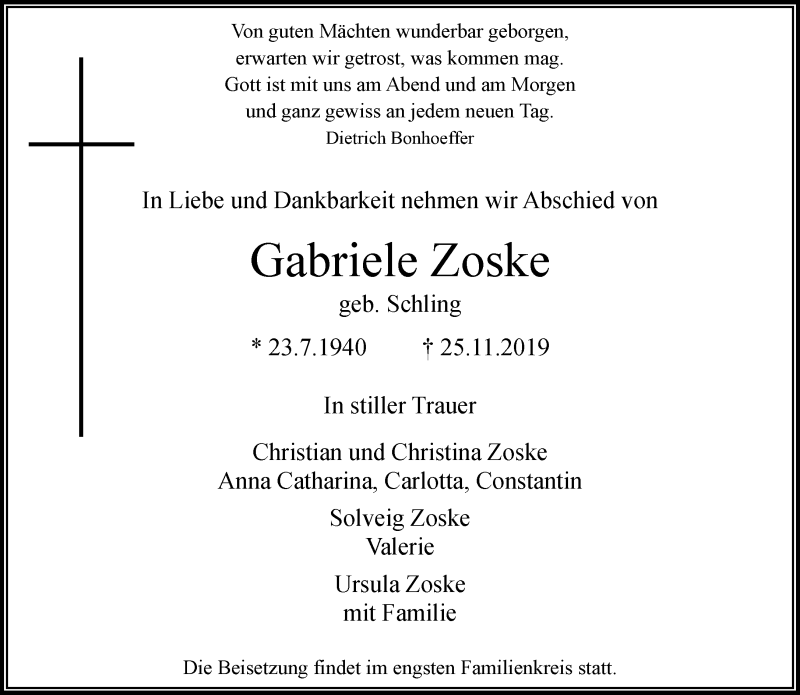 Anzeige von  Gabriele Zoske