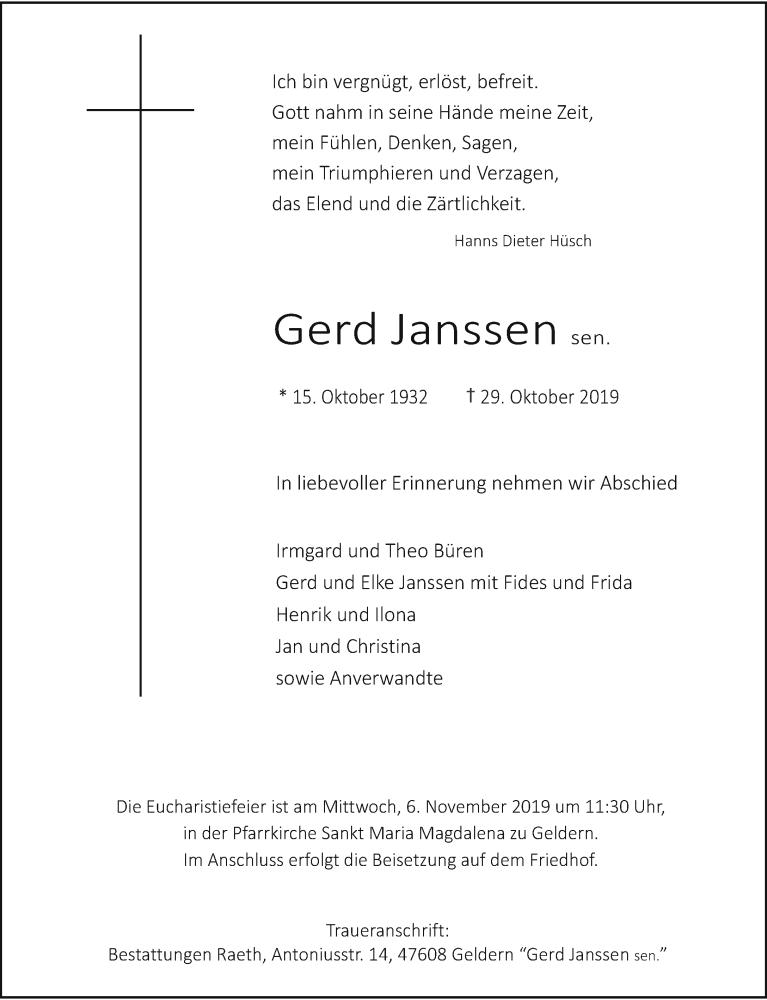 Anzeige von  Gerd Janssen