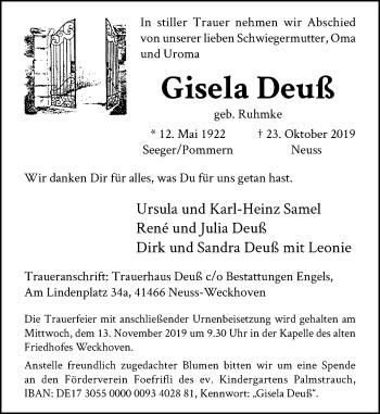 Traueranzeige von Gisela Deuß von Rheinische Post