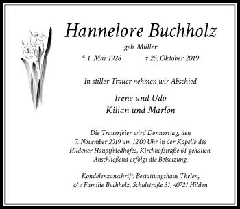 Traueranzeige von Hannelore Buchholz von Rheinische Post