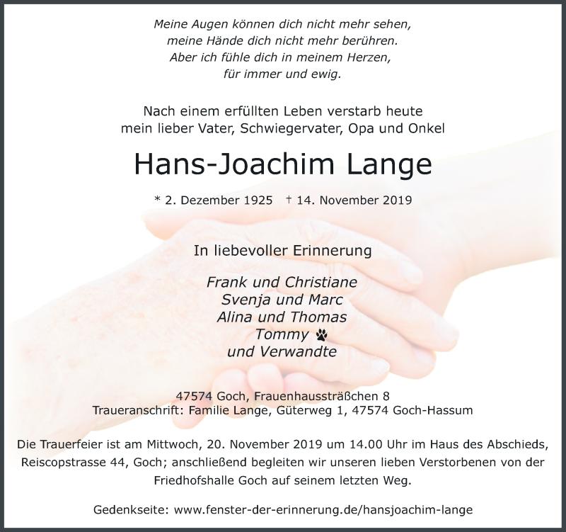 Anzeige von  Hans-Joachim Lange