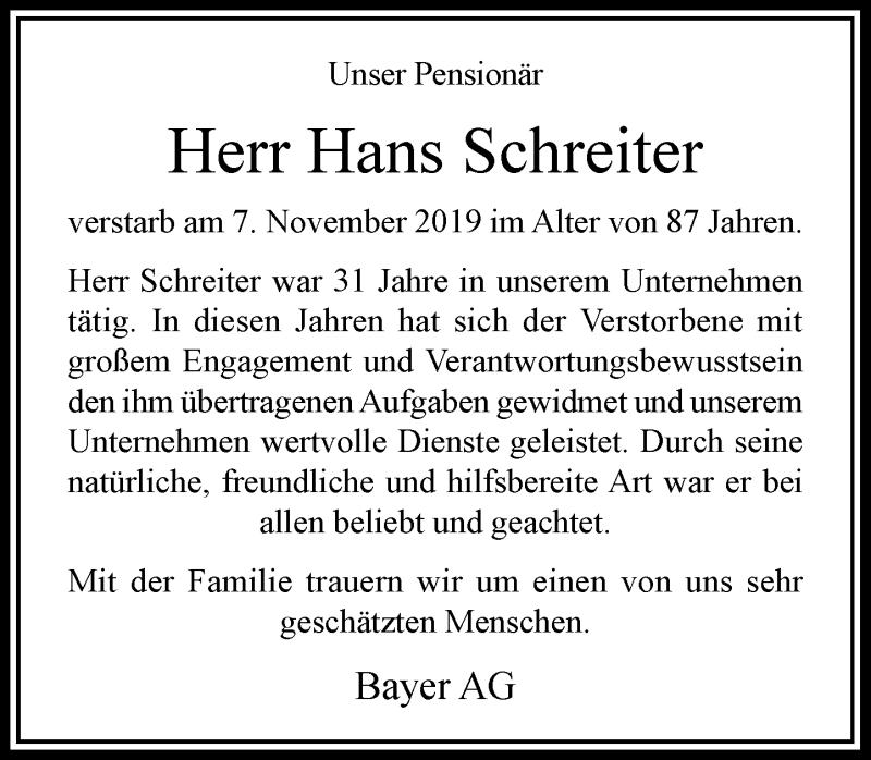 Anzeige von  Hans Schreiter