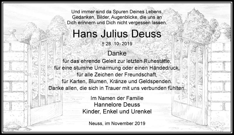 Anzeige von  Hans Julius Deuss