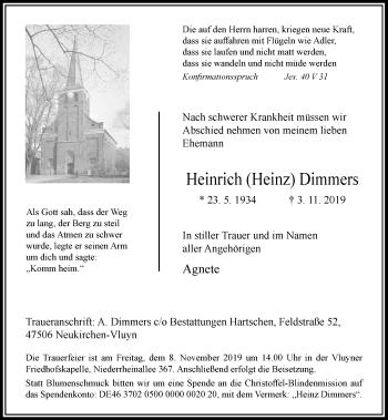 Traueranzeige von Heinrich Dimmers von Rheinische Post