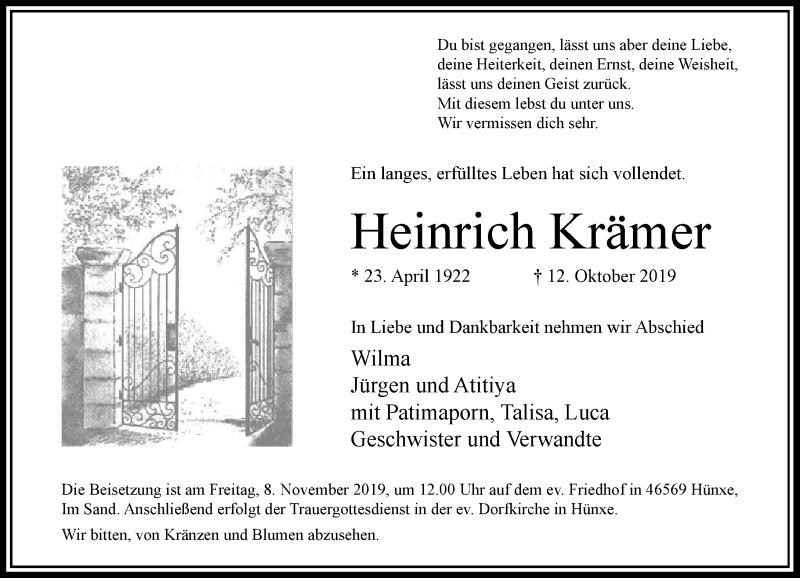 Anzeige von  Heinrich Krämer
