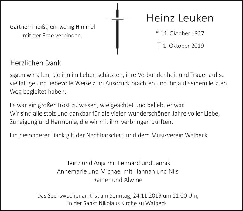 Anzeige von  Heinz Leuken