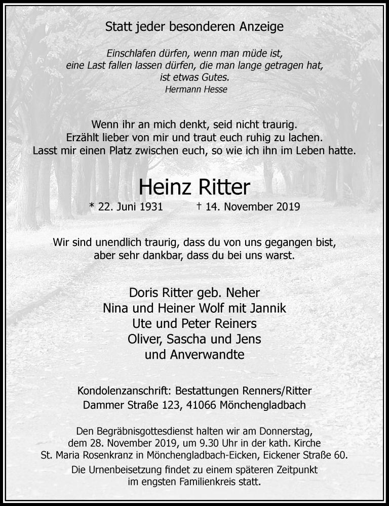 Traueranzeige für Heinz Ritter vom 23.11.2019 aus Rheinische Post