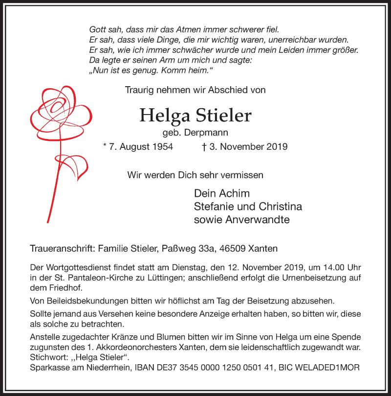 Anzeige von  Helga Stieler
