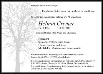 Traueranzeige von Helmut Cremer von Rheinische Post