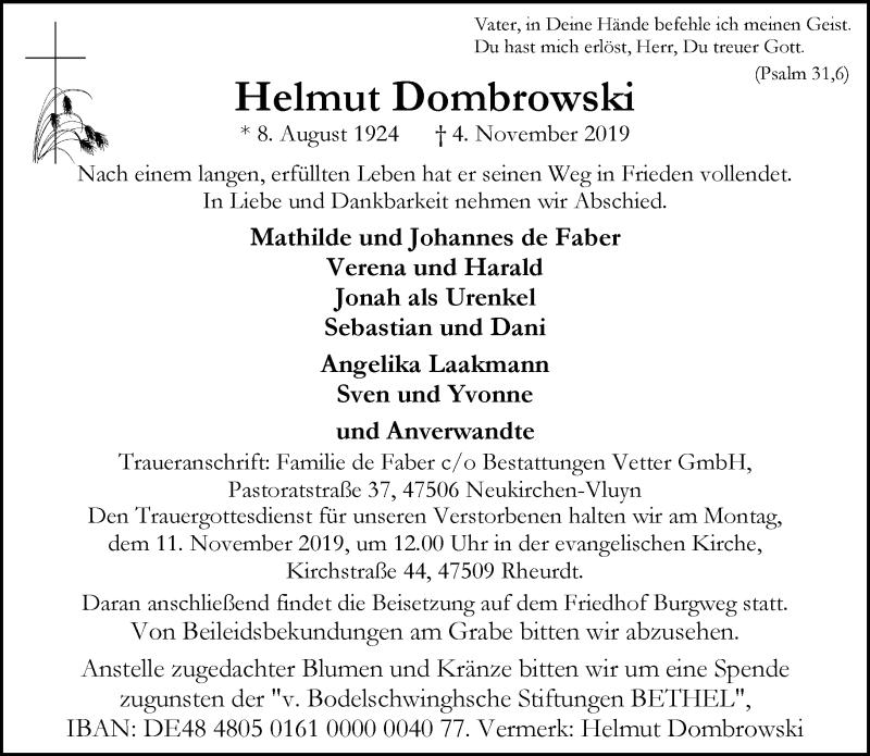 Anzeige von  Helmut Dombrowski
