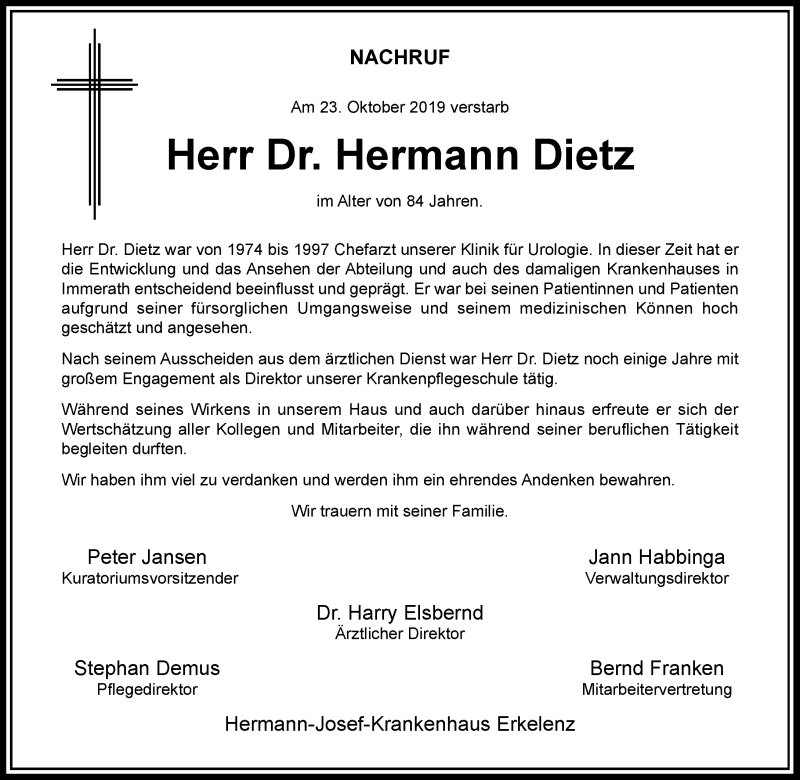 Traueranzeige für Hermann Dietz vom 09.11.2019 aus Rheinische Post