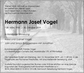 Traueranzeige von Hermann Josef Vogel von Rheinische Post