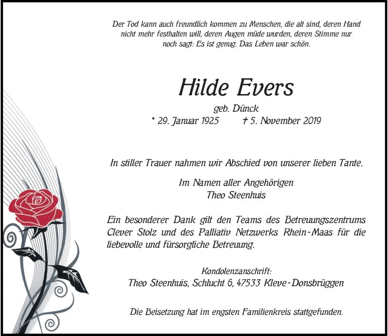 Anzeige von  Hilde Evers