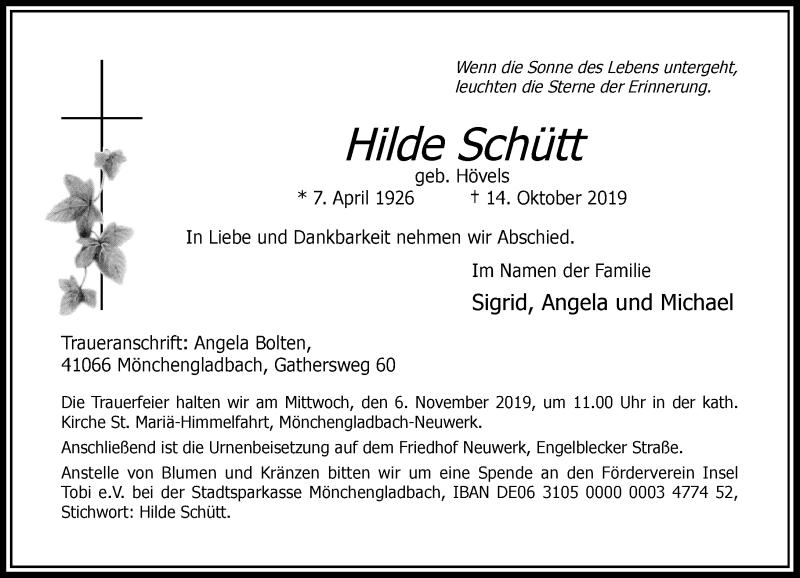Traueranzeige für Hilde Schütt vom 02.11.2019 aus Rheinische Post