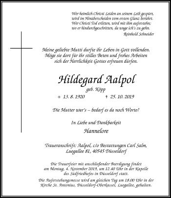 Traueranzeige von Hildegard Aalpol von Rheinische Post