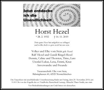 Traueranzeige von Horst Hezel von Rheinische Post