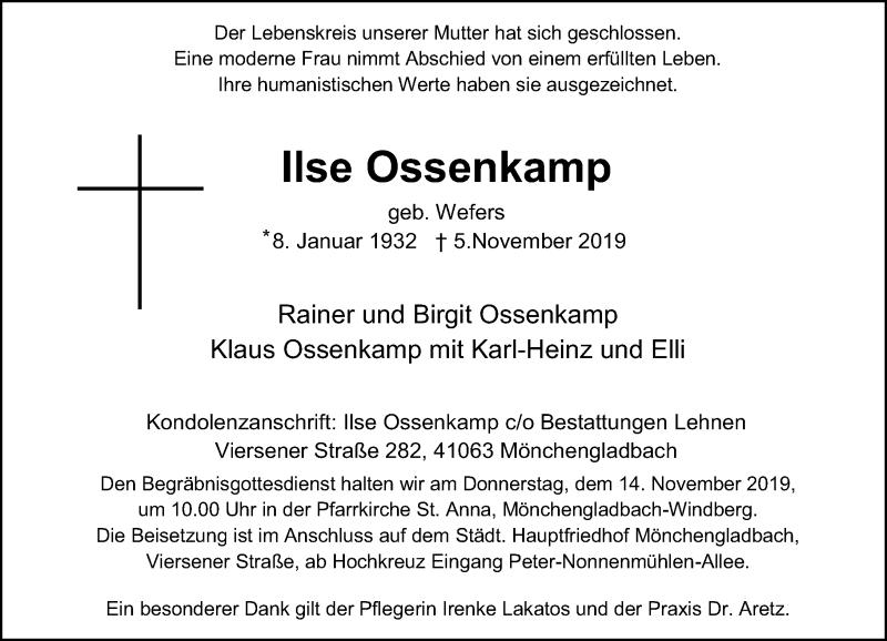 Traueranzeige für Ilse Ossenkamp vom 09.11.2019 aus Rheinische Post