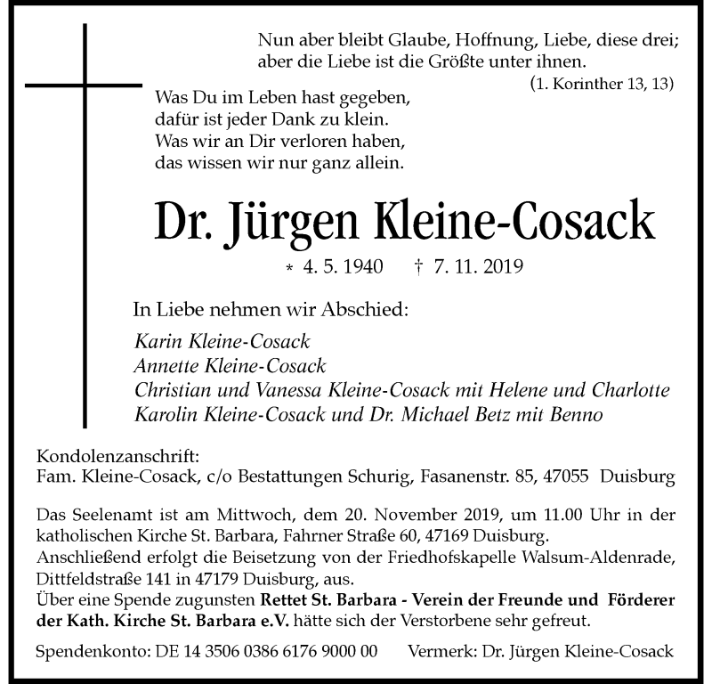 Anzeige von  Jürgen Kleine-Cosack
