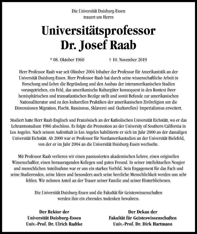Anzeige von  Josef Raab