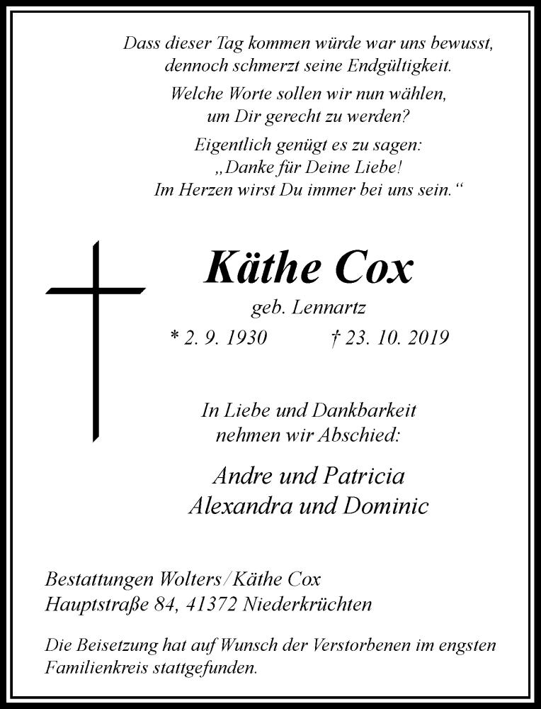 Anzeige von  Käthe Cox