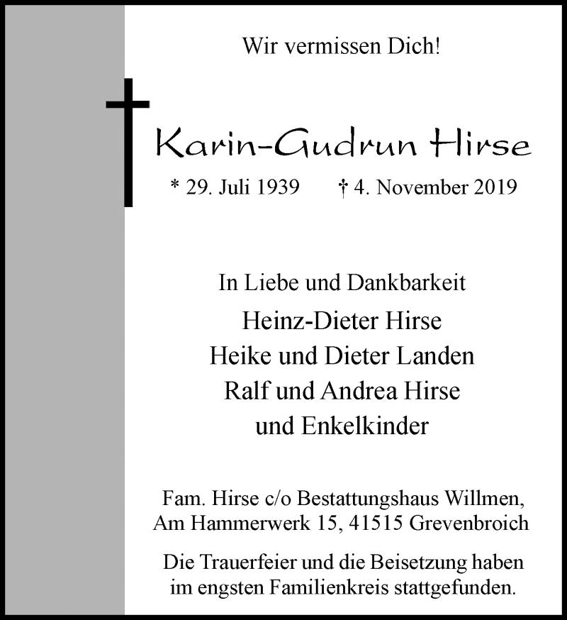Anzeige von  Karin-Gudrun Hirse