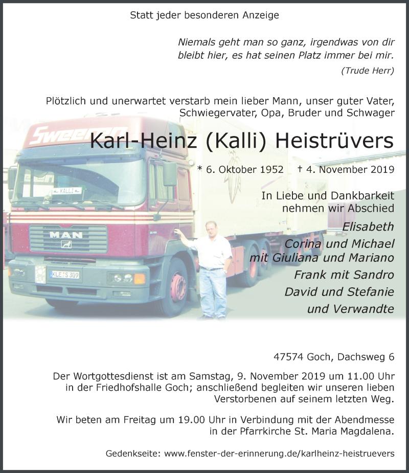 Anzeige von  Karl-Heinz Kalli Heistrüvers