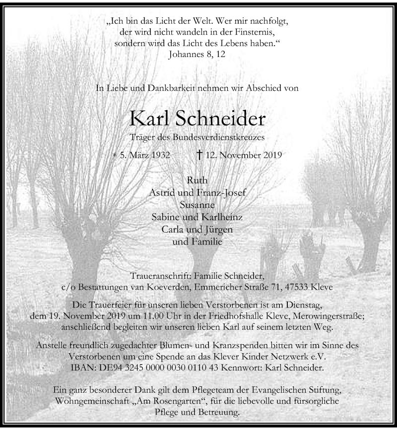 Anzeige von  Karl Schneider
