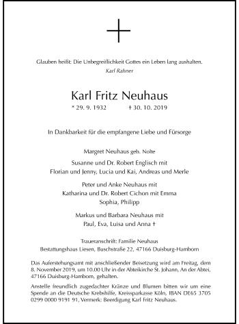 Traueranzeige von Karl Fritz Neuhaus von Rheinische Post