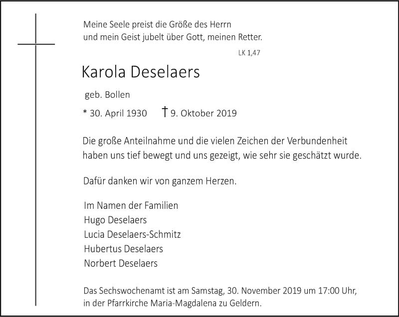 Anzeige von  Karola Deselaers