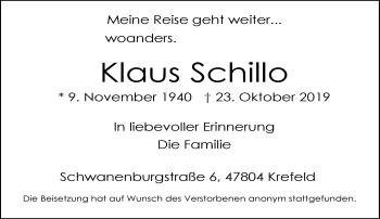 Traueranzeige von Klaus Schillo von Rheinische Post