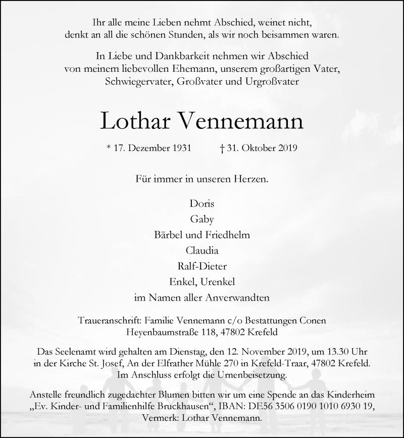 Anzeige von  Lothar Vennemann