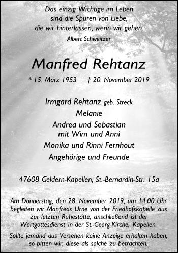 Traueranzeige von Manfred Rehtanz von Rheinische Post