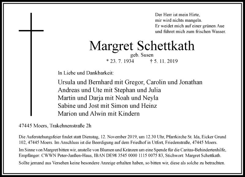 Anzeige von  Margret Schettkath