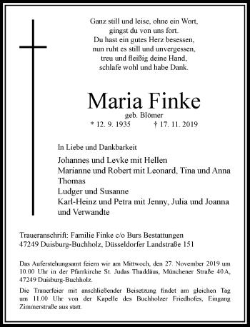 Traueranzeige von Maria Finke von Rheinische Post