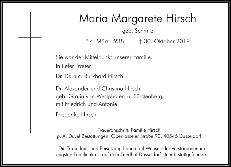 Anzeige von  Maria Margarete Hirsch