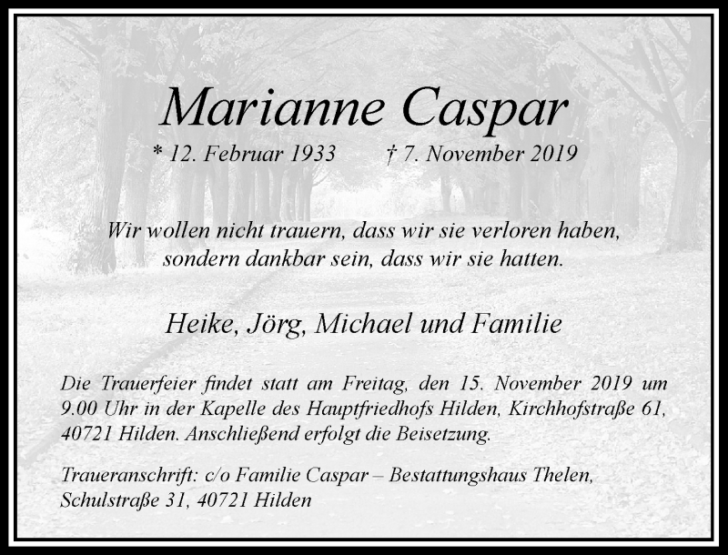 Anzeige von  Marianne Caspar